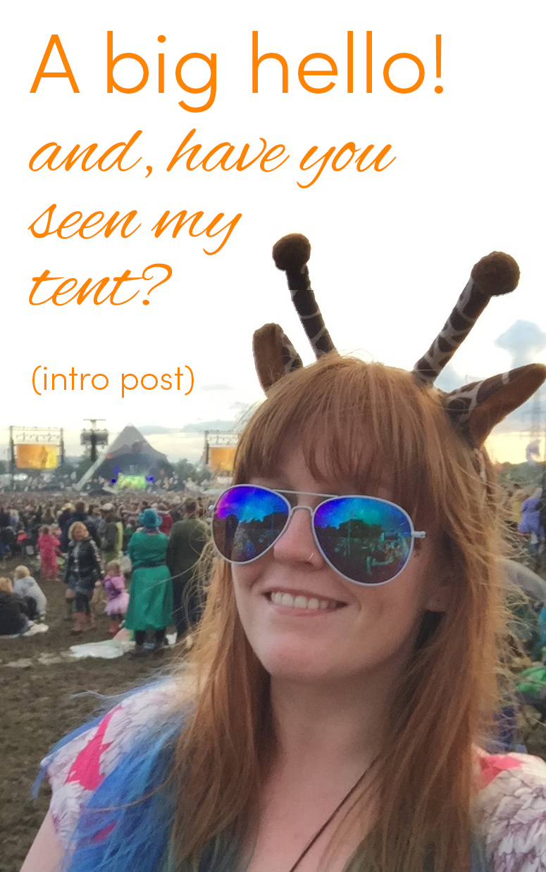 Pinterest share image - selfie in front of the Pyramid stage with blog title