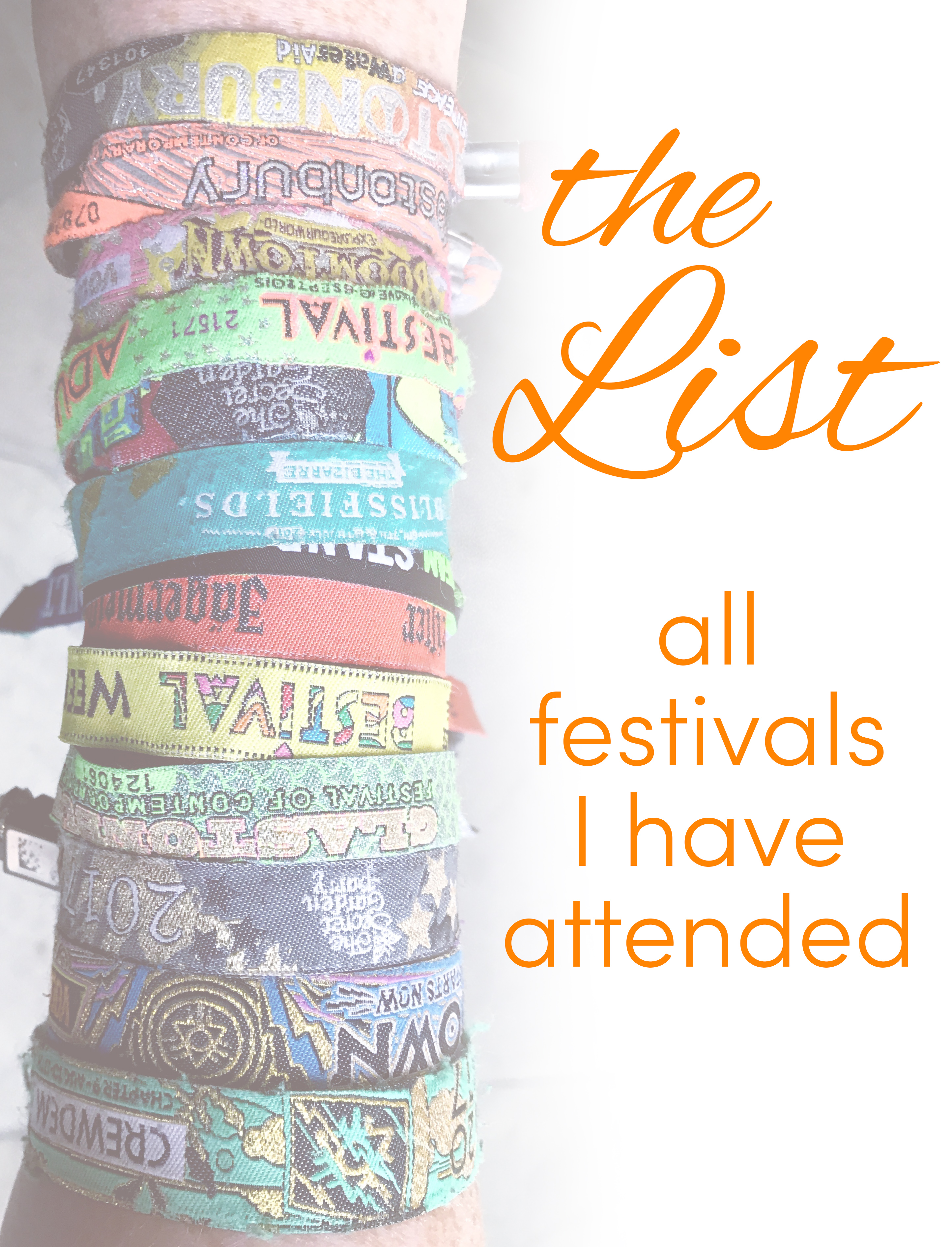 Pinterest share image - my arm covered in festival wristbands with blog title