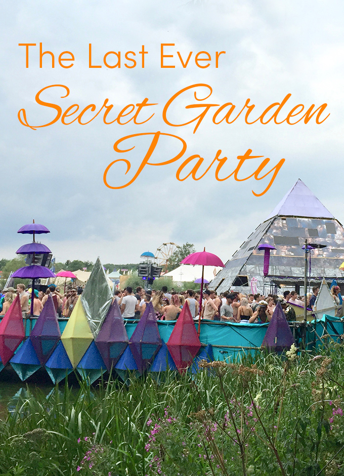 Pinterest share image - view over the SGP lake and Pagoda stage with blog title