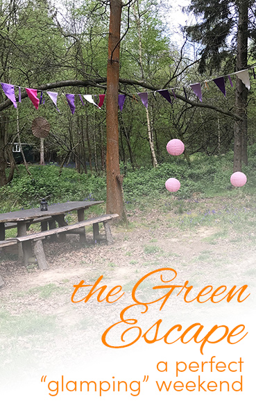 Pinterest share image - the Green Escape outdoor social area in the woodlands with blog title