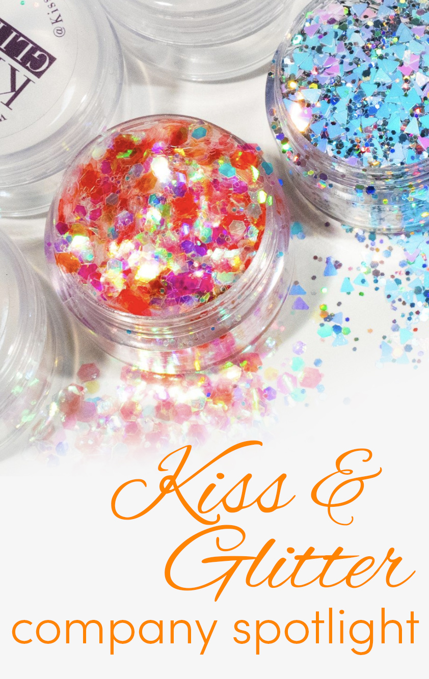 Pinterest share image - pots of K&G glitter with blog title
