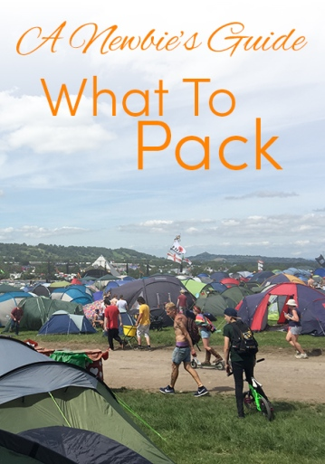 Pinterest share image - view from Big Ground campsite over the Glastonbury camping ground with blog title