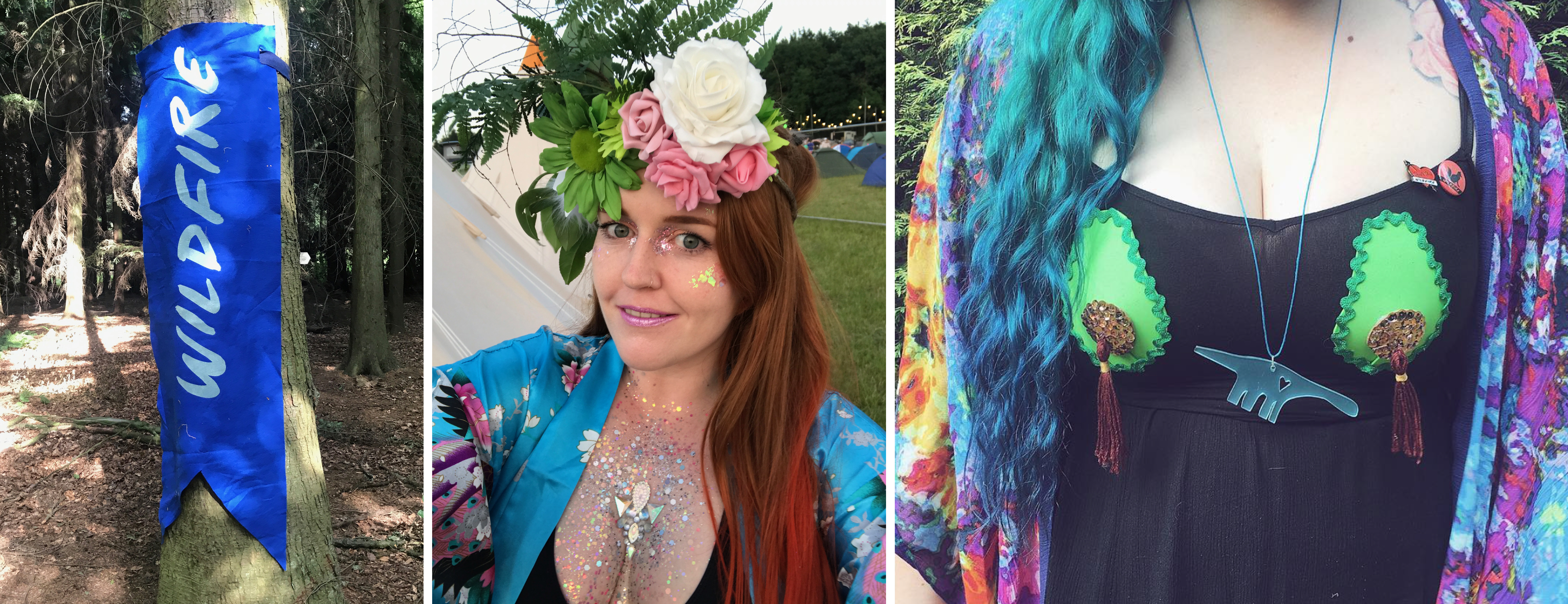 A wildfire flag, me in my natural headpiece, and Luisa's avocado nipple tassels and dinosaur acrylic necklace