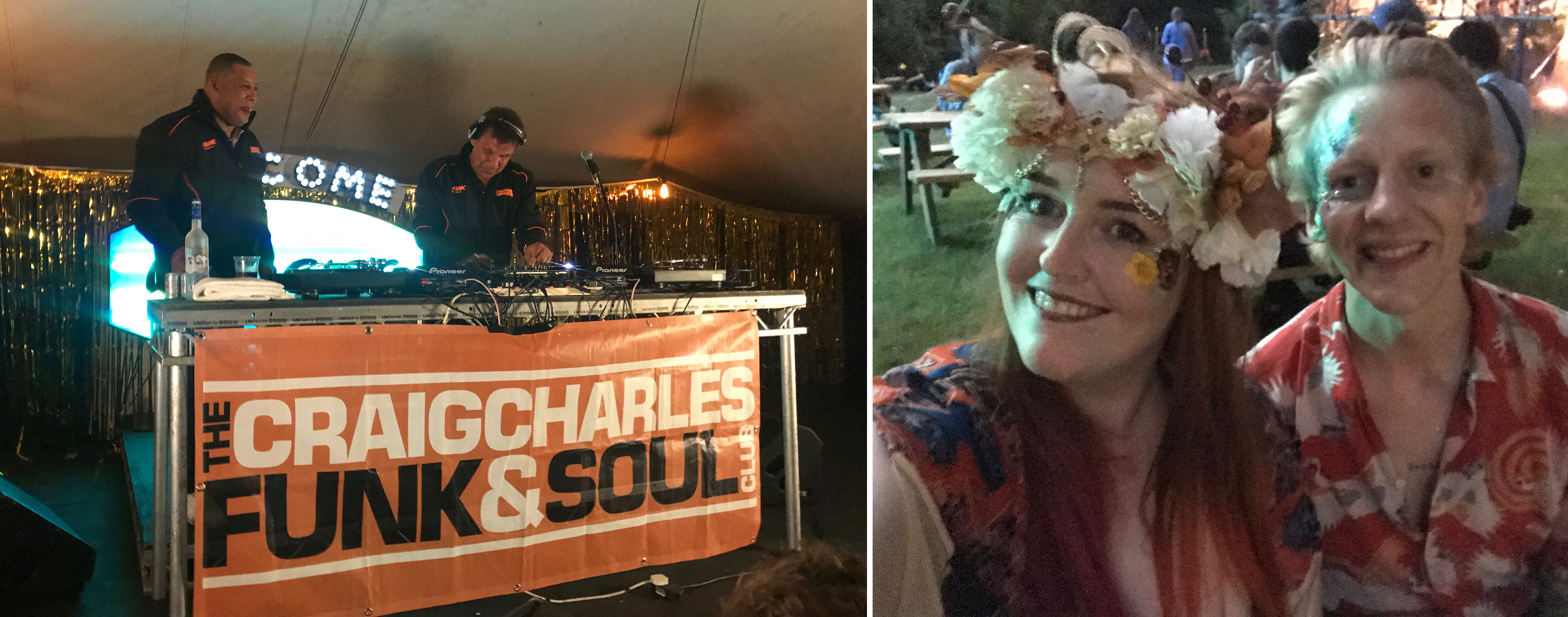 Craig Charles funk and soul show on stage and thom and I sat outside