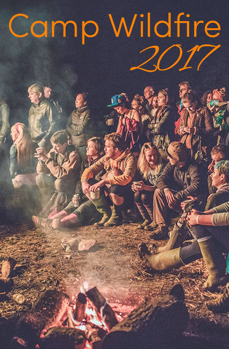 Pinterest share image - campers sat around a campfire at Wildfire with blog title