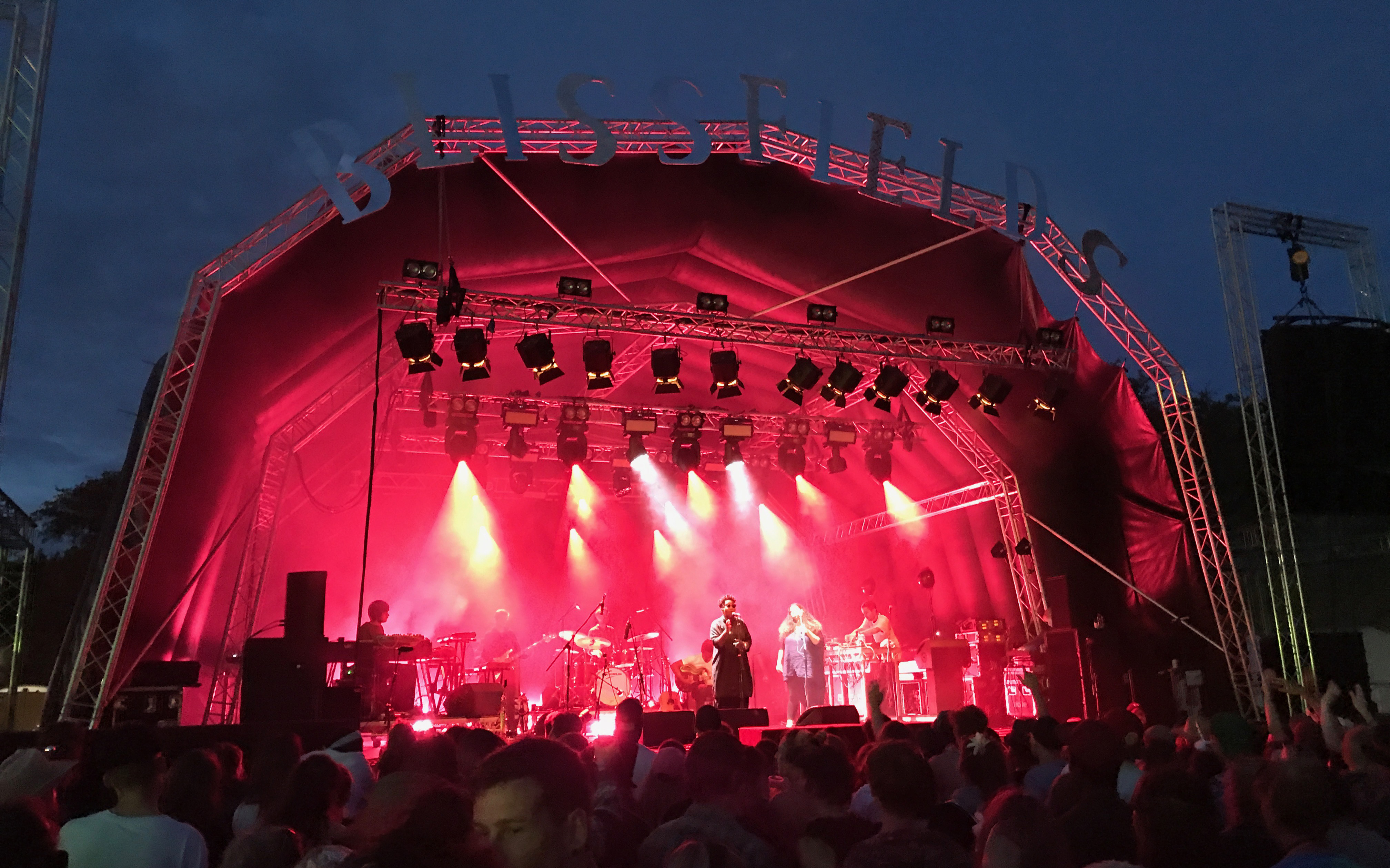 The Cinematic Orchestra playing a fantastic set on the Theatre of the Bizarre