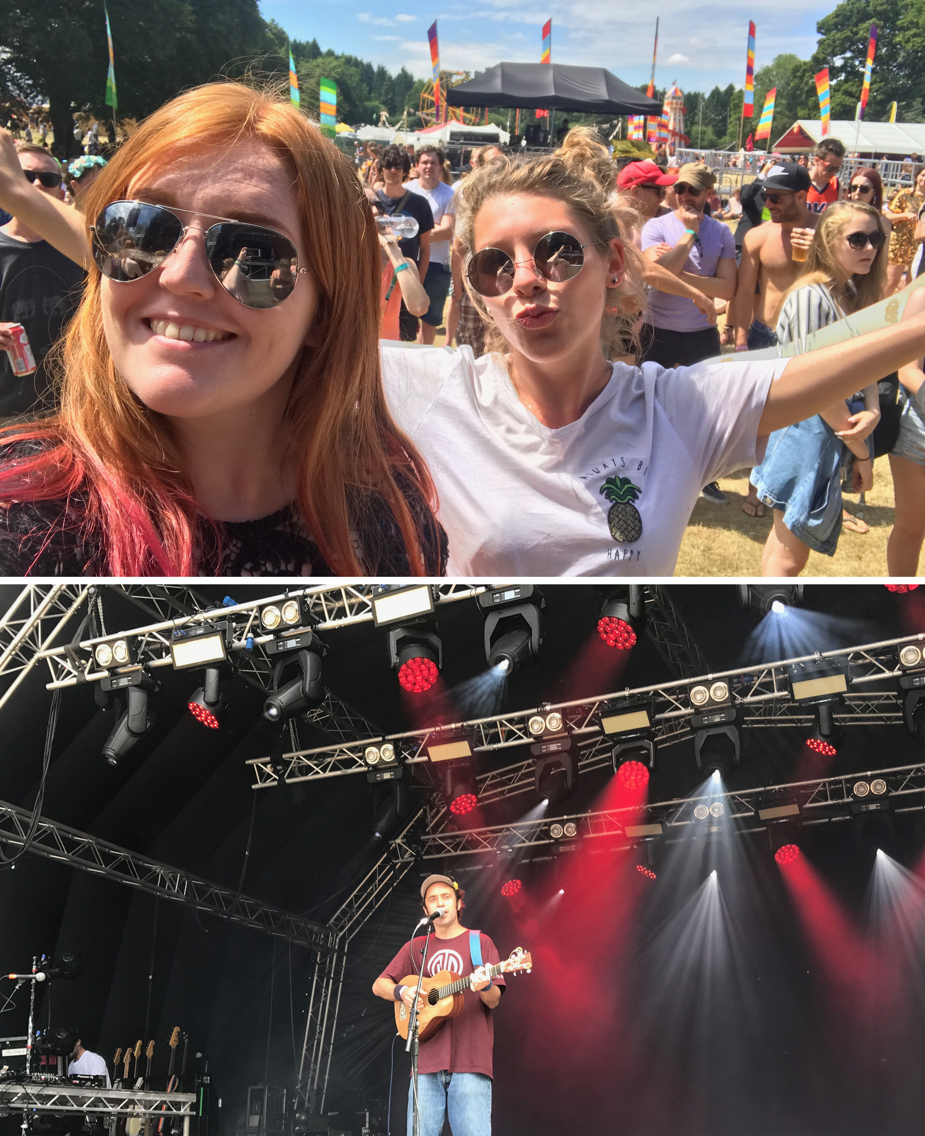 Lara and I waiting for Beans of Toast, and then when he took to the stage playing acoustic guitar