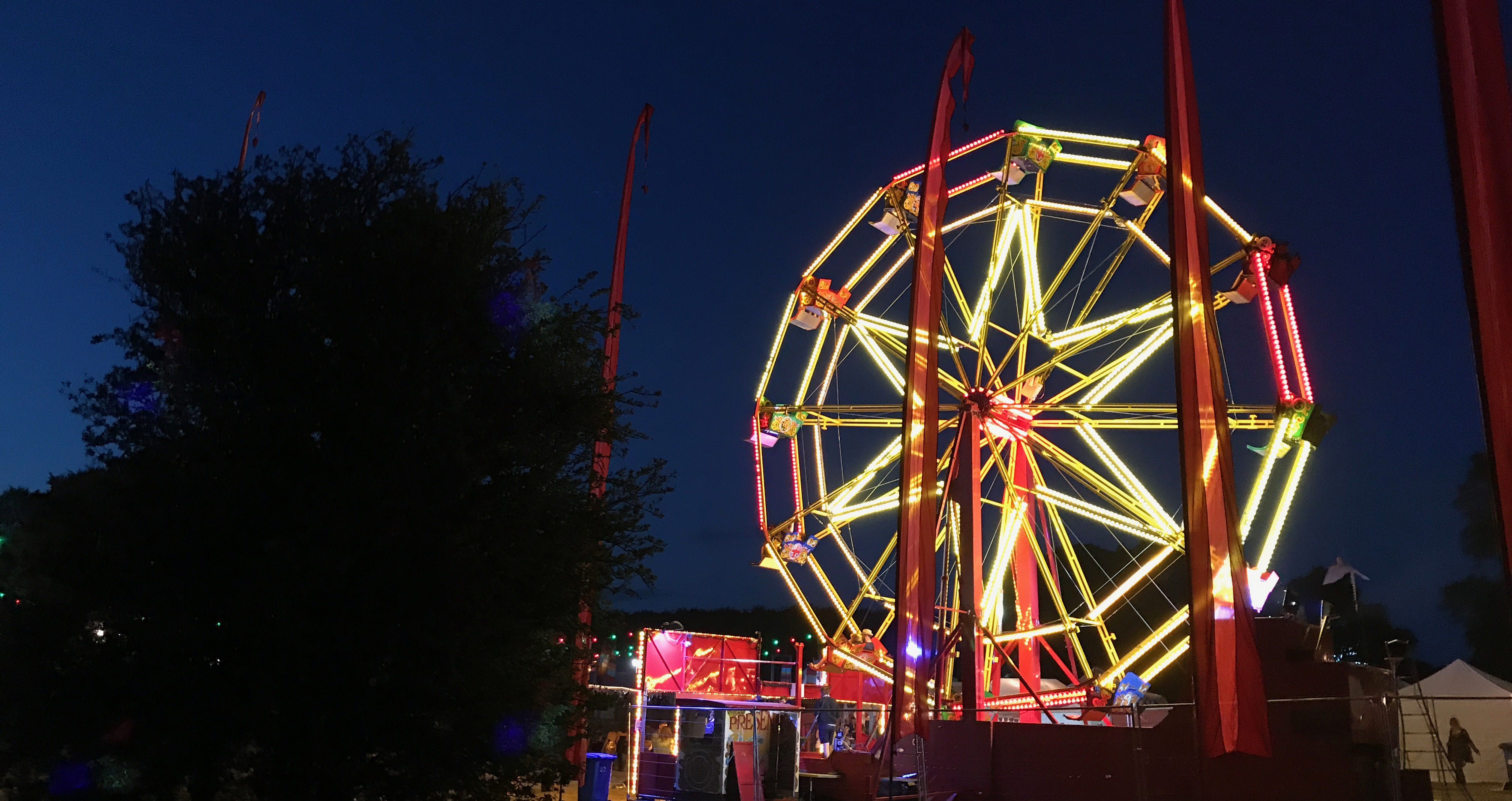 The ferris wheel all lit up