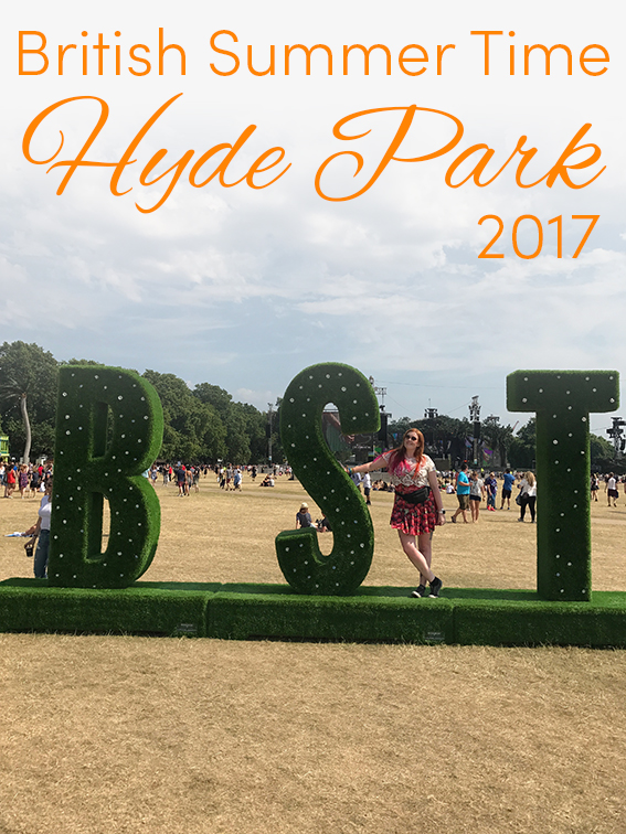 Pinterest share image - Me posing on the BST sign at Hyde Park with blog title