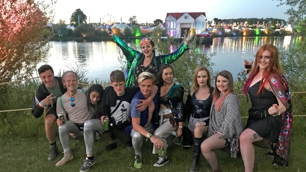 The gang by the secret garden party lake
