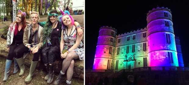 Luisa, Thom, Jodie and I in the Ambient Forest, and the rainbow Lulworth Castle