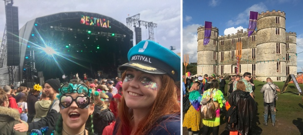 Luisa and I at the Castle Stage, wearing a Bestival captains hat. Lulworth Castle in the sunshine