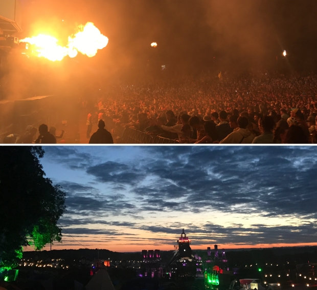 Sector 6 with flames over the crowd and the sunrise over the campsite