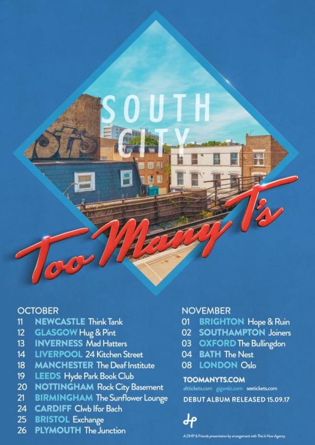 Tour poster for Too Many T's autumn October November tour dates South City album