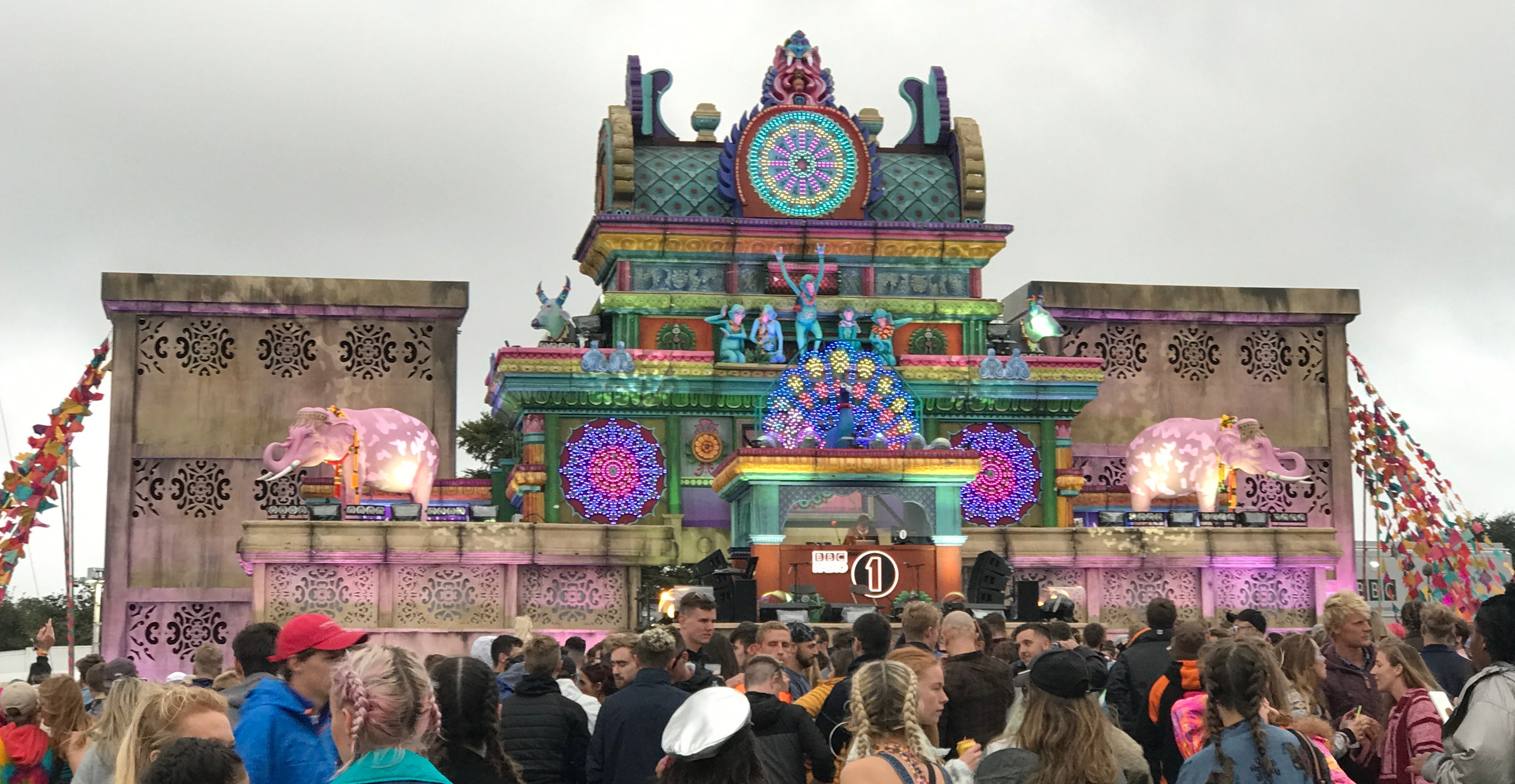 The colourful Bollywood theme Temple Stage at Bestival with Annie Mac live broadcasting on Radio 1 uk music festival