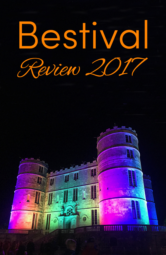 Pinterest share image - rainbow lights shining on Lulworth Castle for the colourful Bestival with blog title