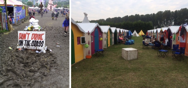 Glastonbury mud - don't drive on the grass. And camping pods
