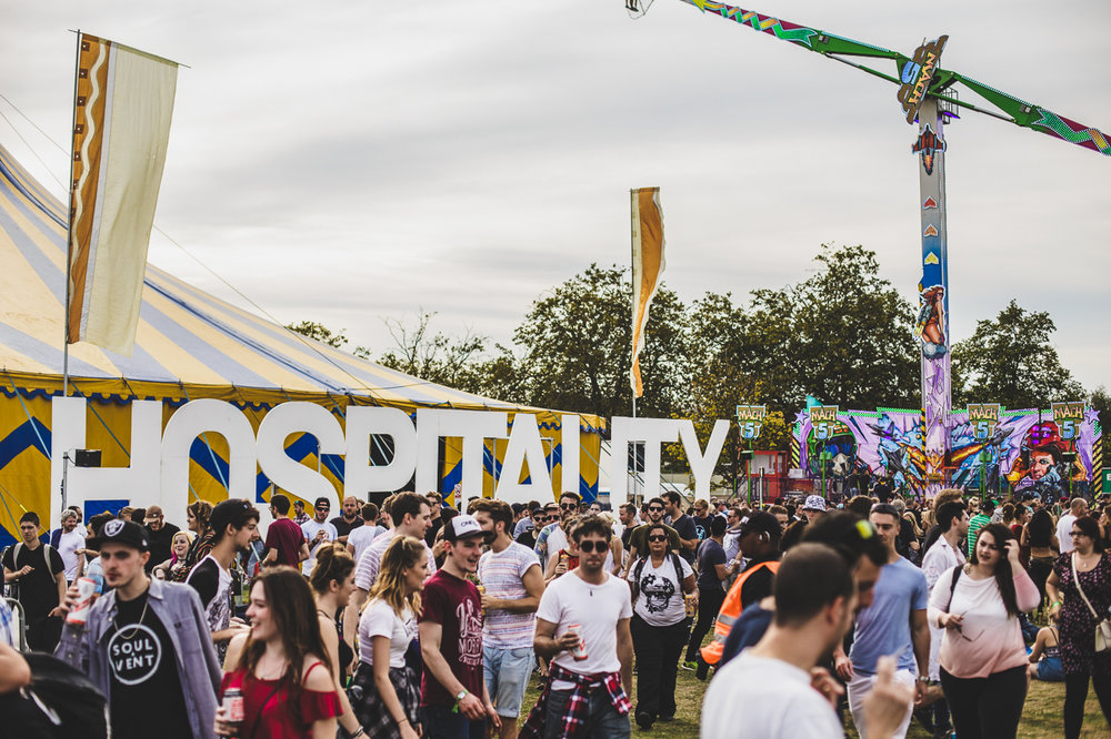 The Hospitality sign at HITP and excited festival crowd