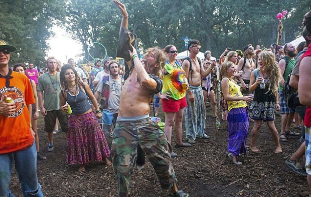 Free parties in the woods with hippy revellers