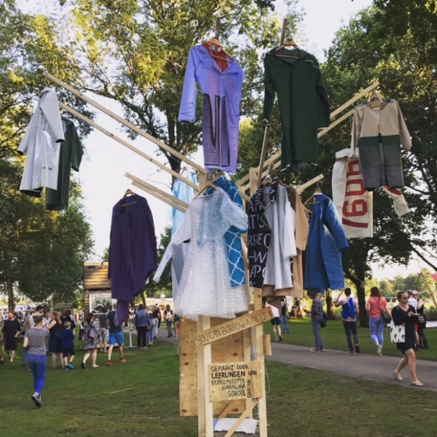 Coathangers art installation promoting sustainable recycled clothing