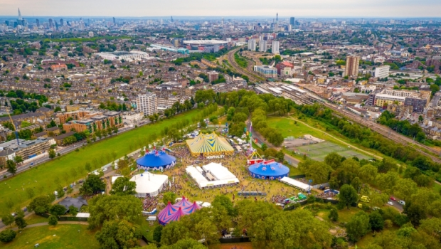 Hospitality in the Park from above drone footage drone photo site