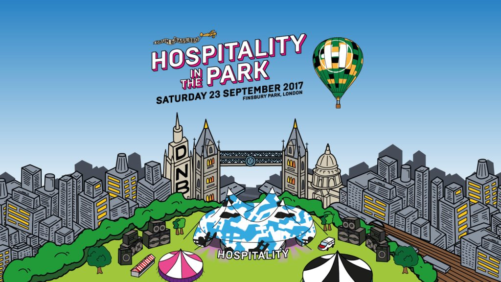 Official poster for Hospitality In The Park London September 2017 hospital records Finsbury park