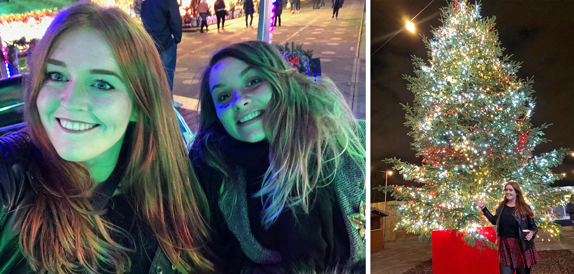 My friend Chan and I enjoying the fairground area, and me posing in front of the giant gorgeous Christmas tree
