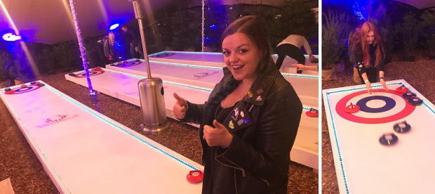 Luisa looking confident and me resetting the stones in the curling lane