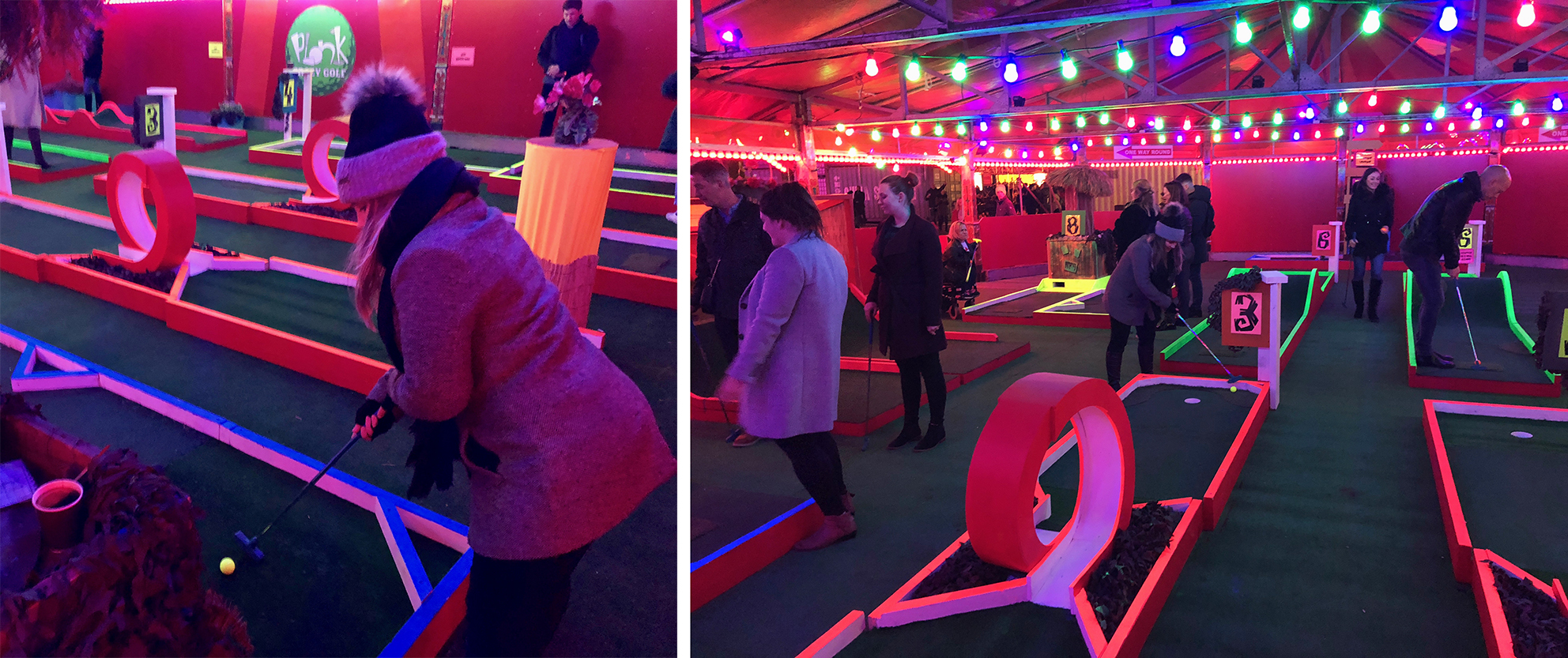 Chan on the Plonk Golf neon crazy golf course trying for a hole in one whilst drinking mulled wine