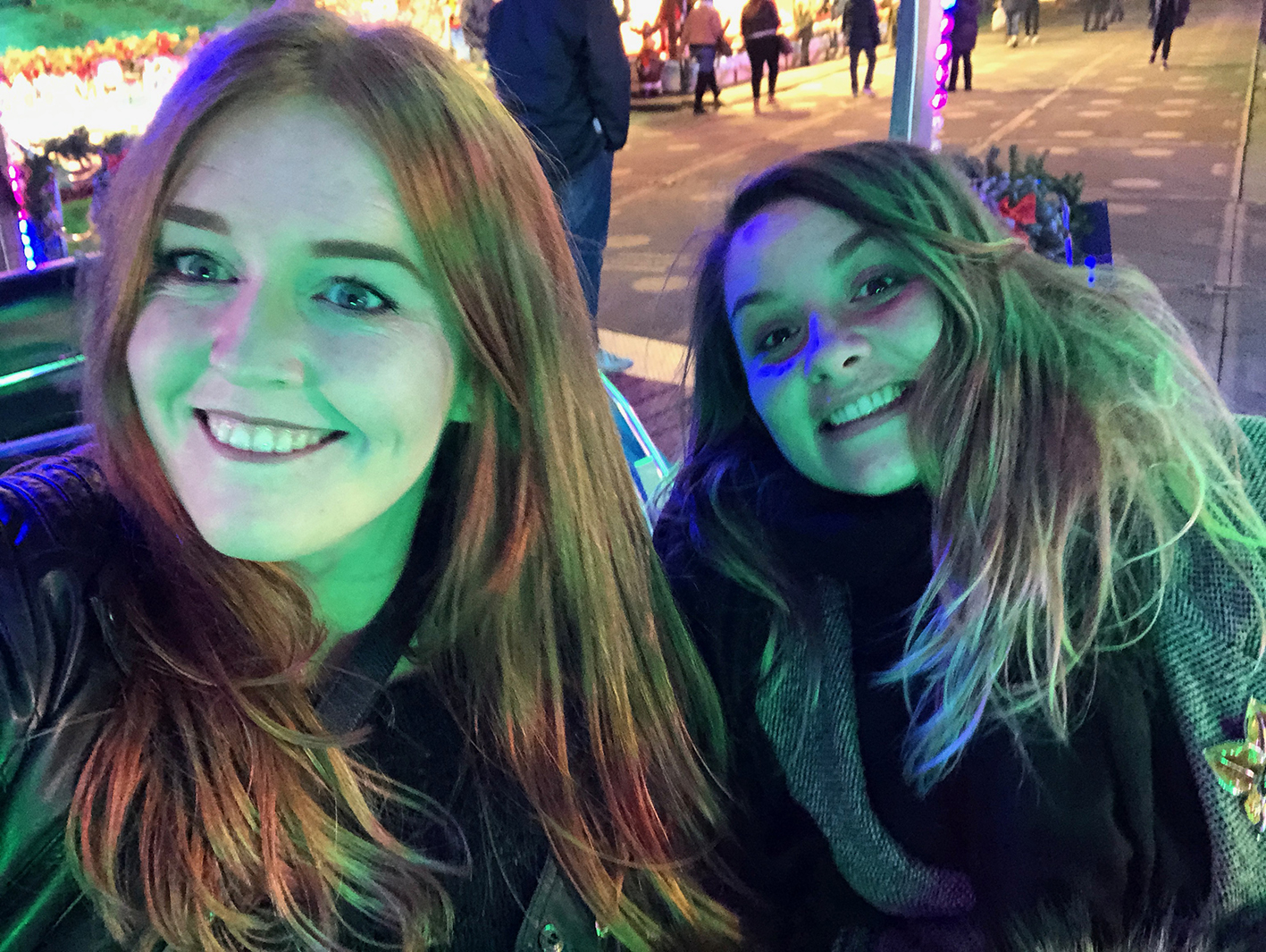 A selfie of Chan and I on a fairground waltzer ride at Winterville winter festival