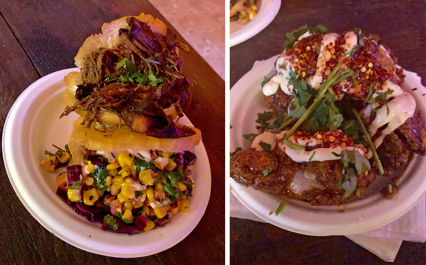 A delicious close up of our two filled arepas; one with beef brisket, one with chicken and corn salsa.