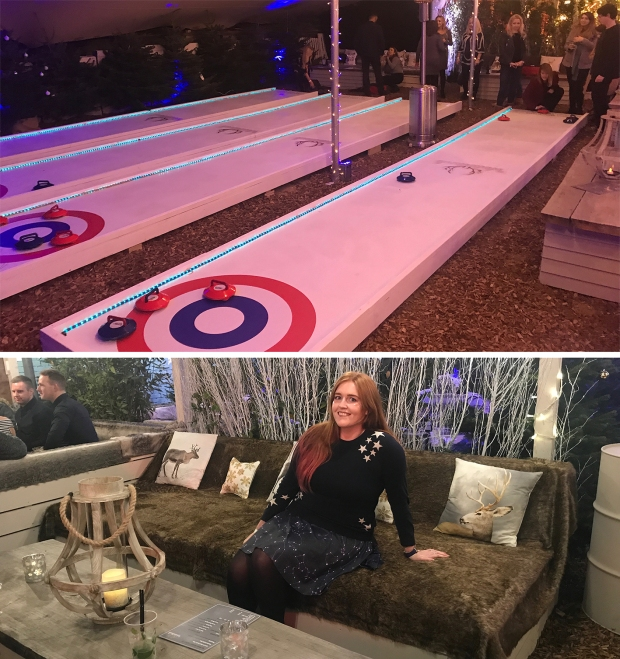 The view of the curling lanes and my enjoying the luxurious surroundings on my furry sofa throne
