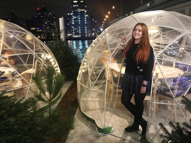 Me stood outside the gorgeous igloos looking over the Thames!