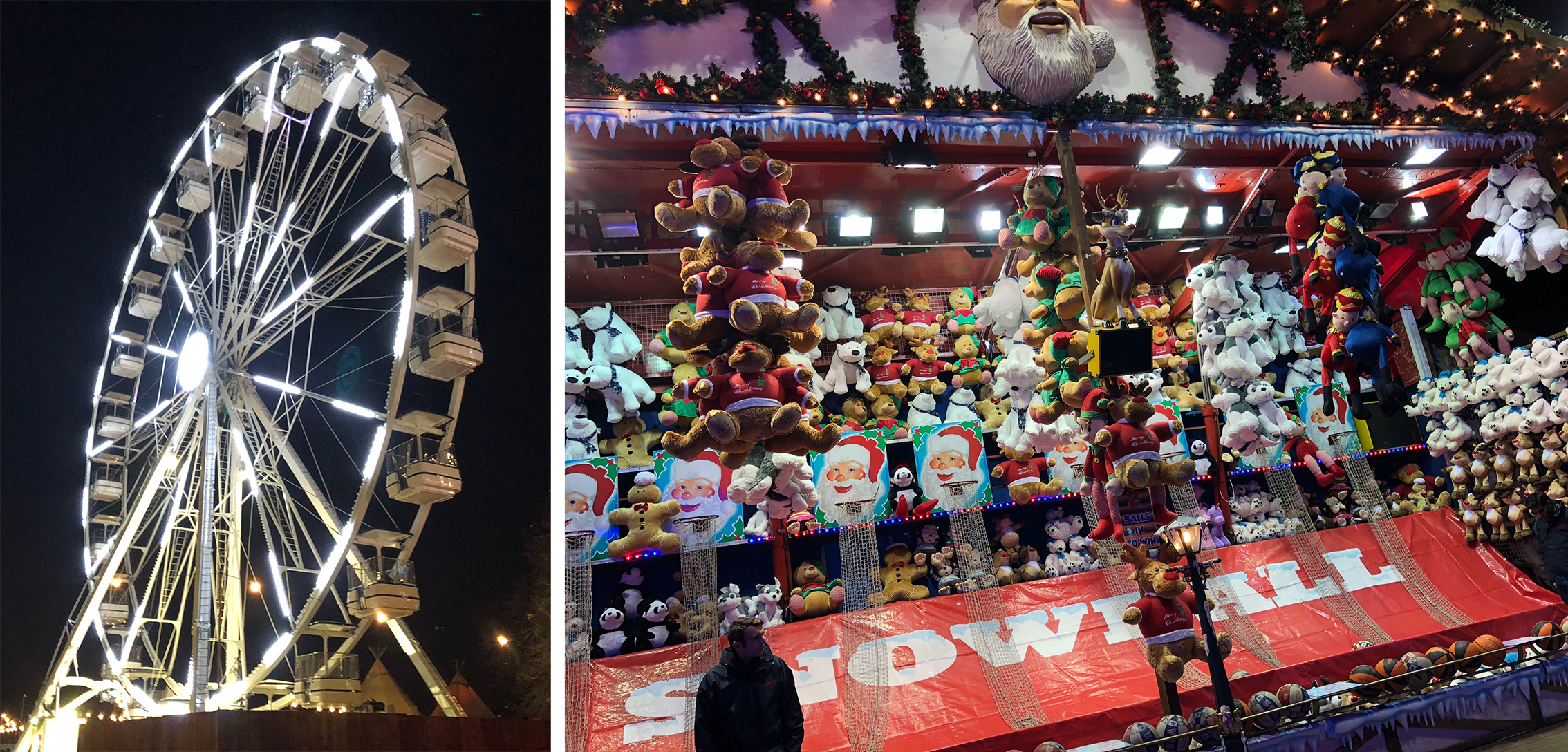 The Big Wheel ride and one of the giant carnival games - shoot some hoops to win a stuffed animal