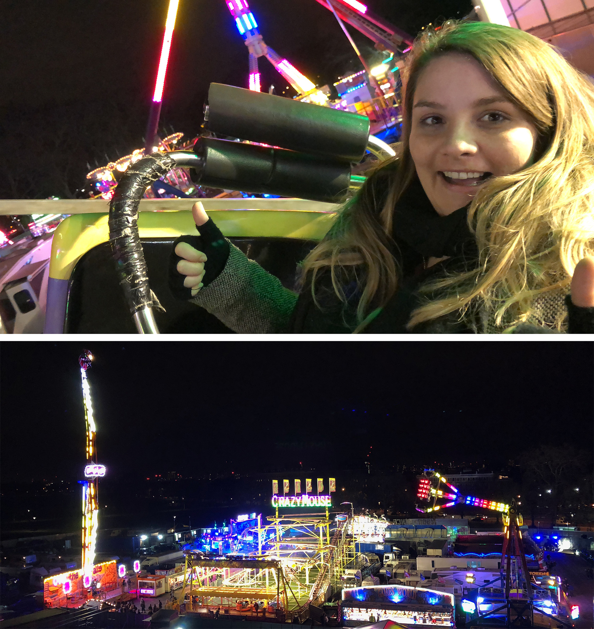 My friend Chan looking a little terrified on the way up the Crazy Mouse rollercoaster, and the view over Winterville fairground area from the Big Wheel