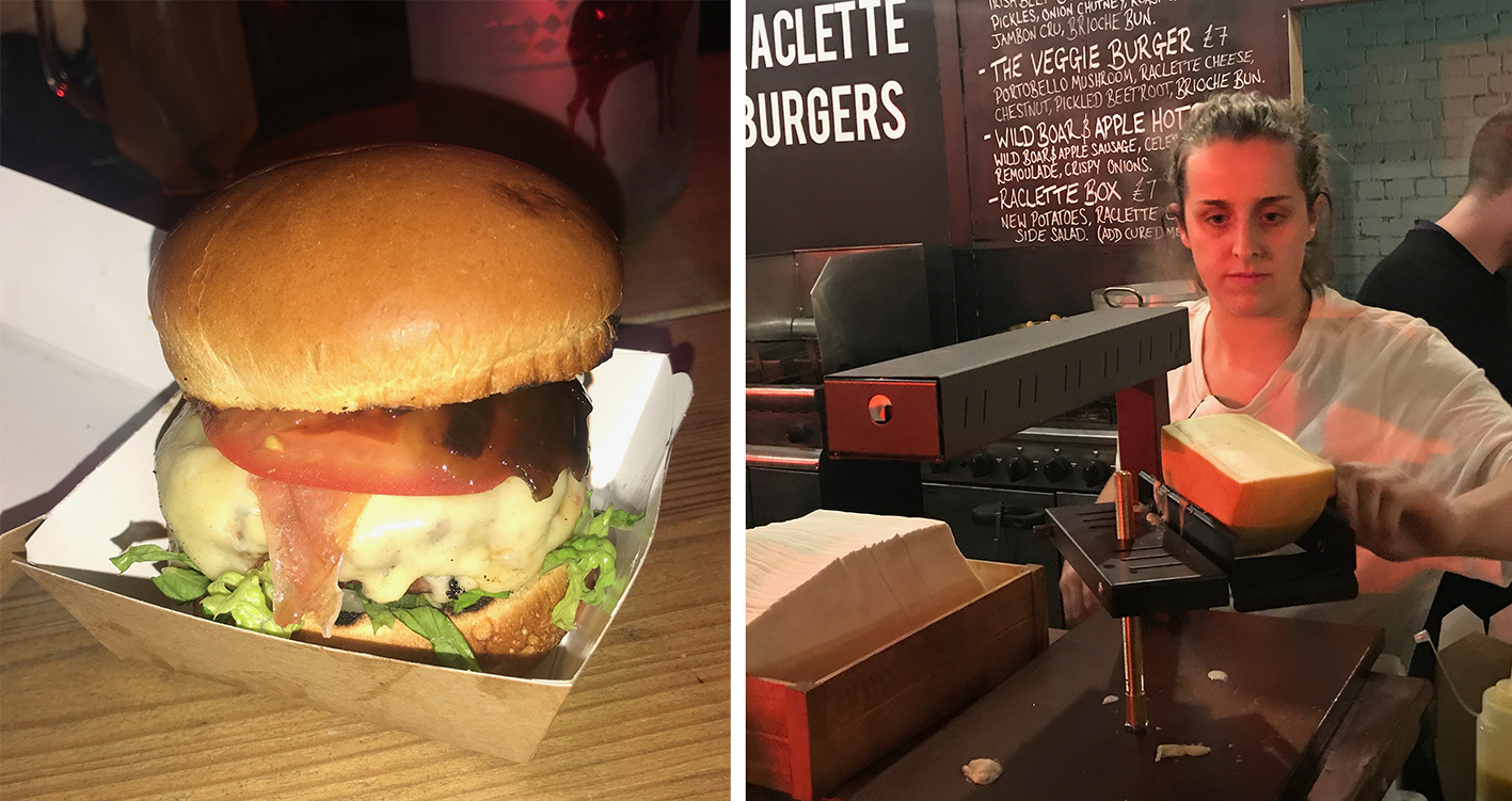 My glorious Lodge raclette burger and where the magic happens... where the raclette gets melted