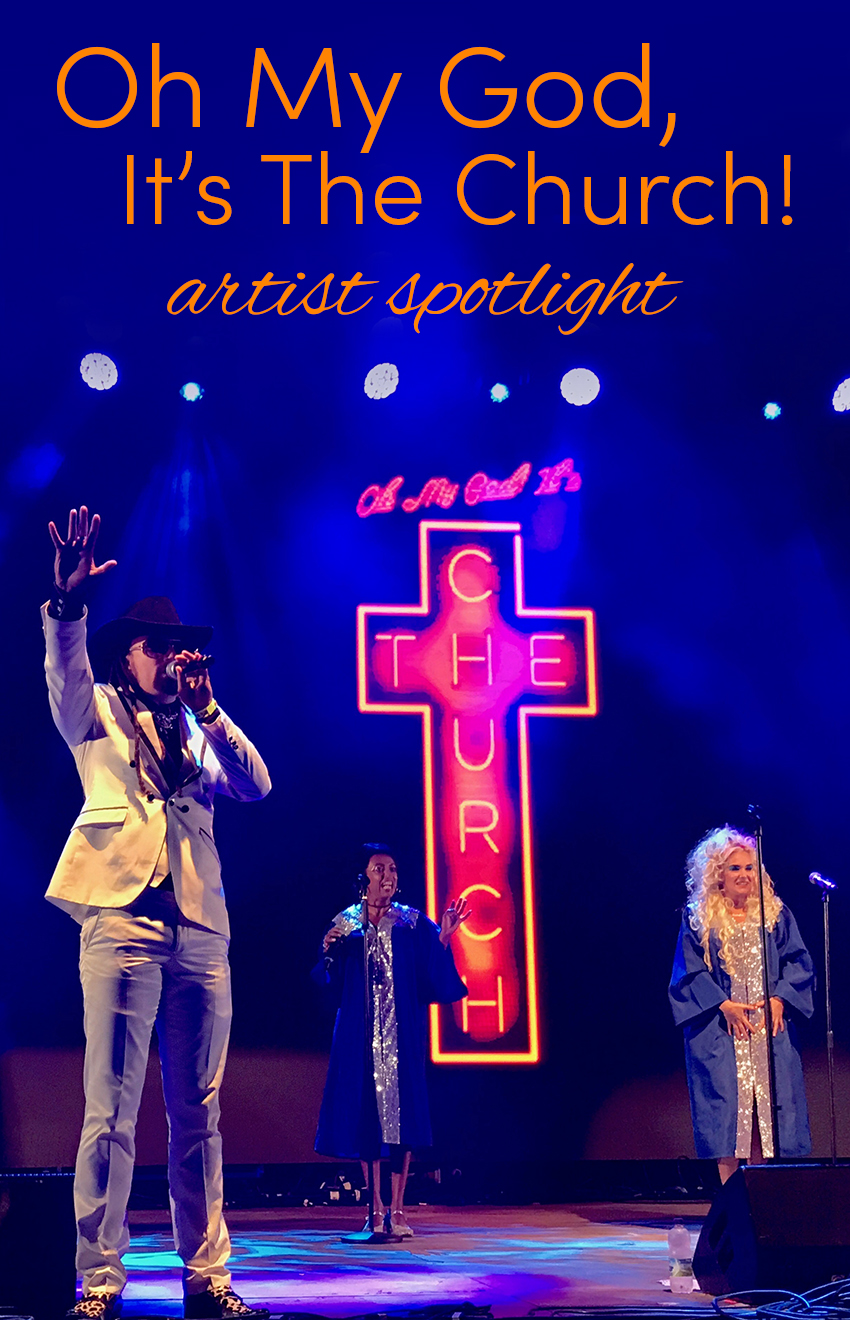 Pinterest share image - OMG It's The Church! On stage at the big top at Bestival with blog title