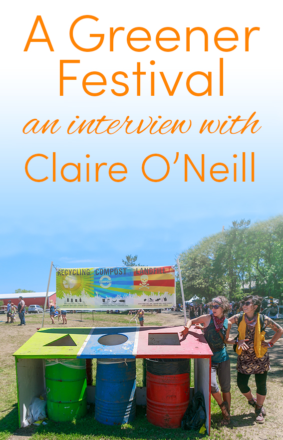 Pinterest share image - three bins at a festival with clear recycling signs and two festival goers, with blog title