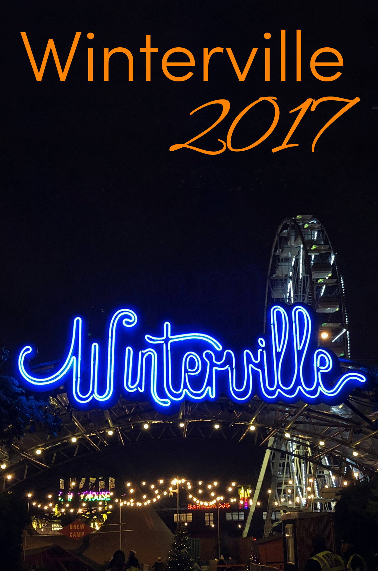 Pinterest share image: view of the Winterville neon sign in the night sky with the big wheel behind it with blog title one top