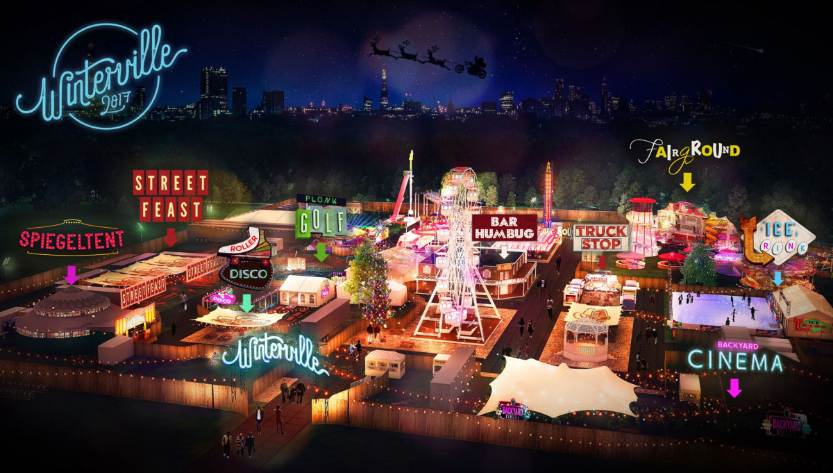 Winterville official map of the site including Street Feast, Spiegeltent, the ice rink etc
